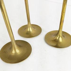 Vintage Accents - Set of 3 Brass Candlestick Holders Taper Vintage